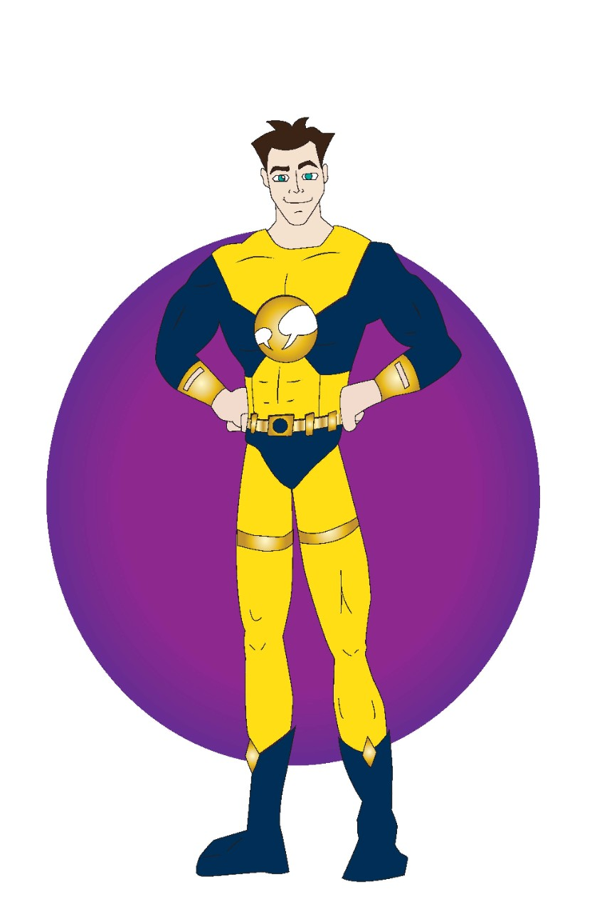 Cartoon drawing of a superhero labeled The Collaborator